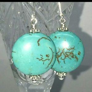 Sterling Silver Large Coin Turquoise Earrings